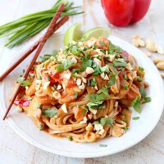 Slow Cooker Thai Peanut Chicken Noodles.