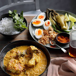 Burmese-style Fish Curry With Noodles, Mustard Greens And Duck Eggs.