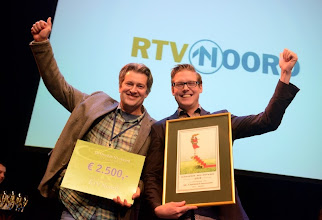 Photo: Erik Hogeboom en Rens van Stralen van RTV NOORD winnen de gouden NL award©foto eric brinkhorst
