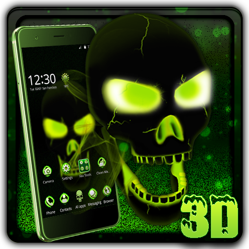 Neon Poison Skull 3D Theme