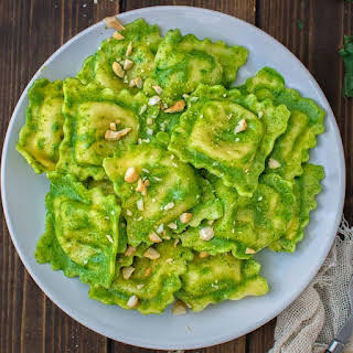 Ravioli with Kale Pesto.