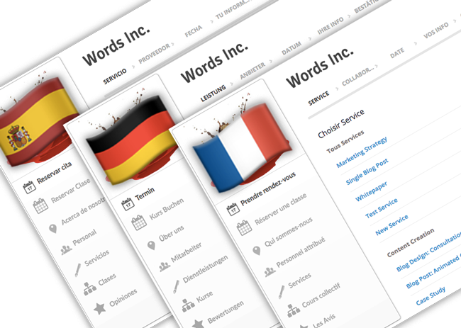 Three versions of the Setmore booking page, each in a different language: spanish, german, and french.