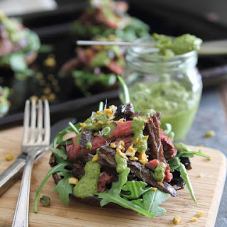 Balsamic Steak Stuffed Portobellos With Pistachio Pesto