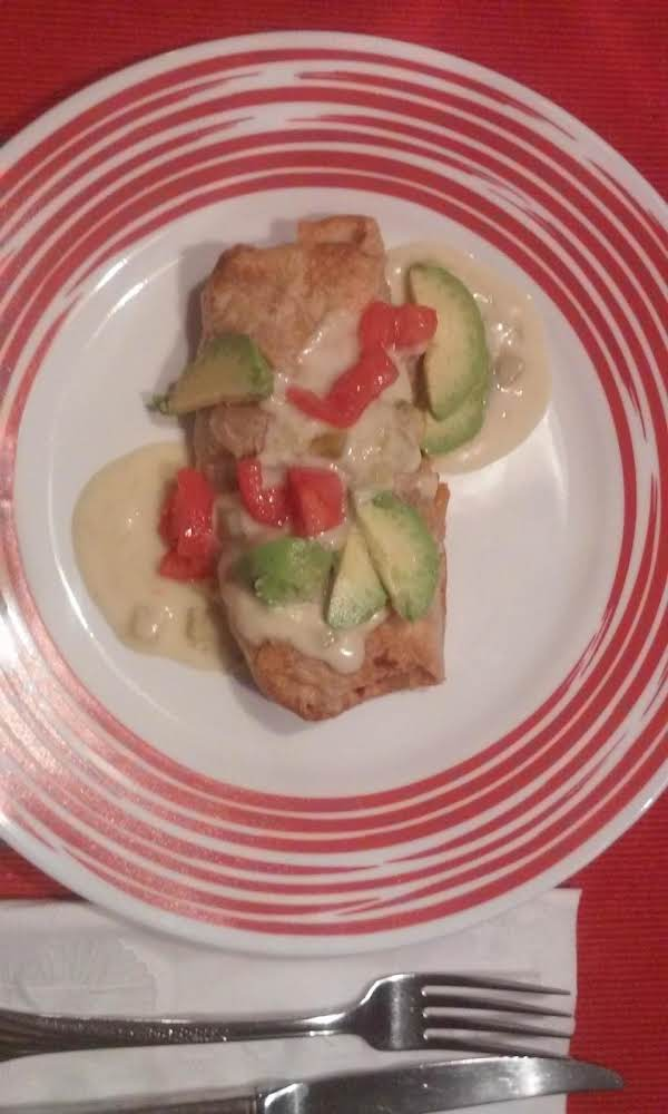 Baked Chimichangas With Green Chili Cream Sauce