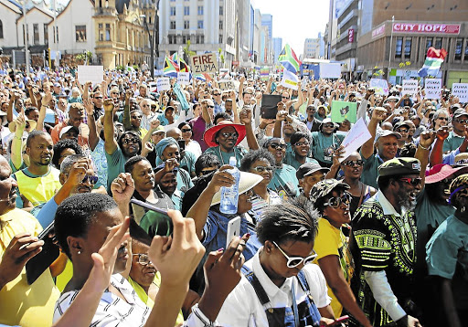 Reshuffle fallout: A crowd listens to Sipho Pityana addressing a Save SA gathering. Picture: THE HERALD