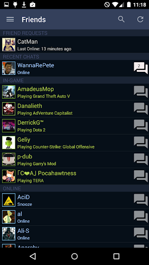 Screenshot 0 for Steam's Android app'