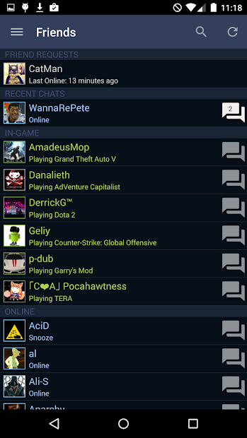 Steam Android App Screenshot