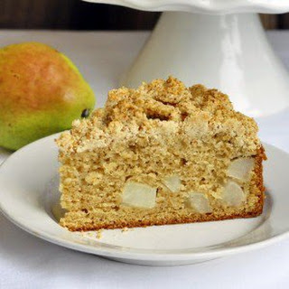 Pear and Ginger Coffee Cake with Almond Shortbread Crumble Topping.