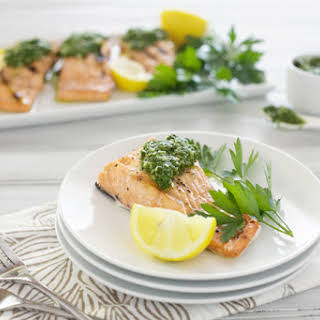 Grilled Salmon with Chimichurri.
