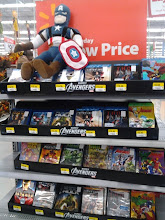 Photo: They had a middle aisle display with all different DVDs that were Avengers and Avengers Characters