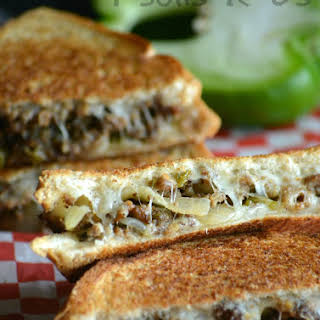 Ground Beef Philly Cheesesteak Grilled Cheese.