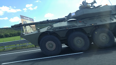 Photo: We saw a military convoy on the way, driving on the autostrada with us!