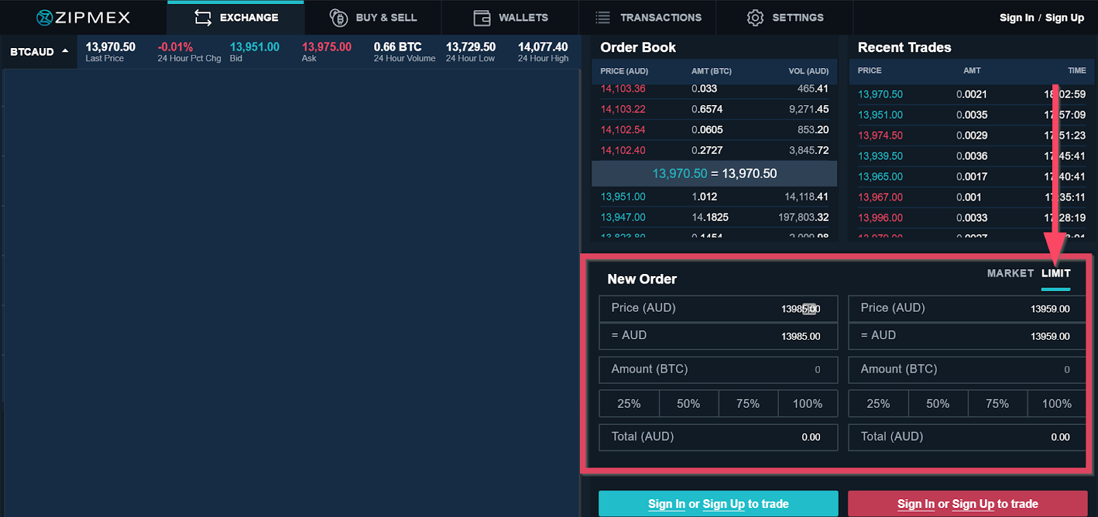 Limit order sample on a trading platform