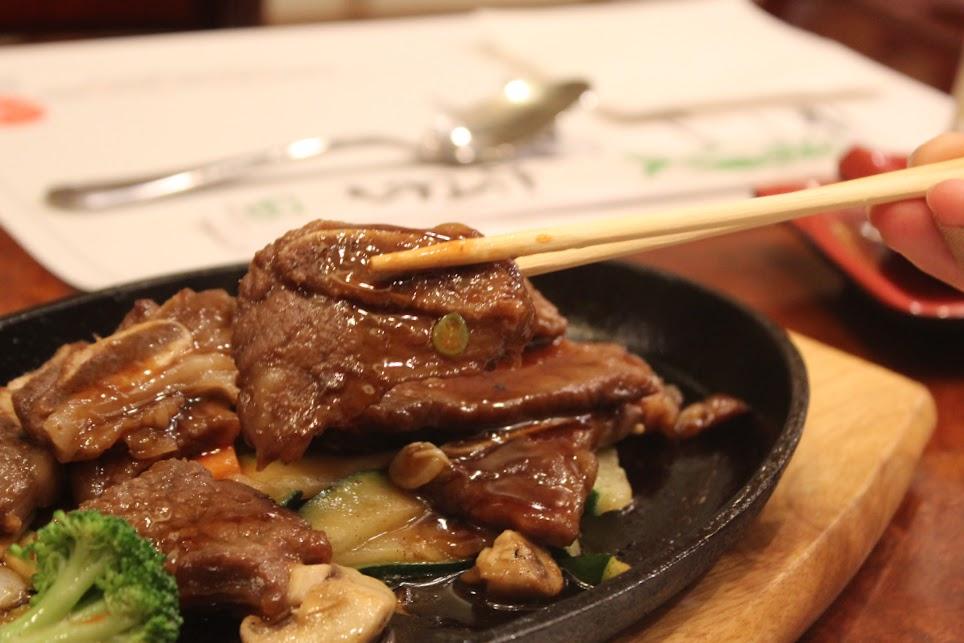 Short Rib Kalbi on a hot plate at Ichiban Fish House on Sheppard