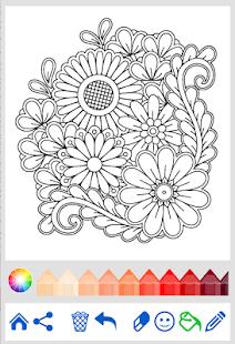 Flowers Mandala Coloring Book Screenshot