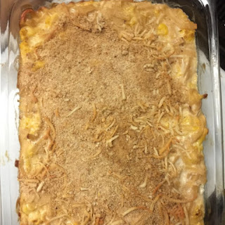 Creamy Protein Packed Roasted Cauliflower Pasta Bake.