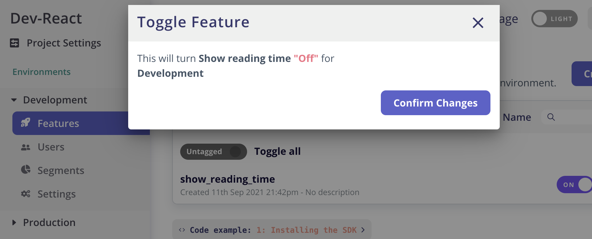 Screenshot of turning reading time off in the Flagsmith application