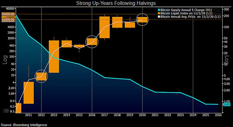 Anos que seguem o halving do Bitcoin costumam ter fortes altas. Fonte: Bloomberg Intelligence.