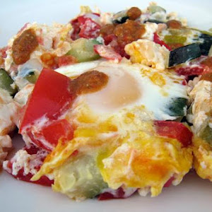 Feta Cheese With Eggs, Peppers, Zucchini, & Tomatoes
