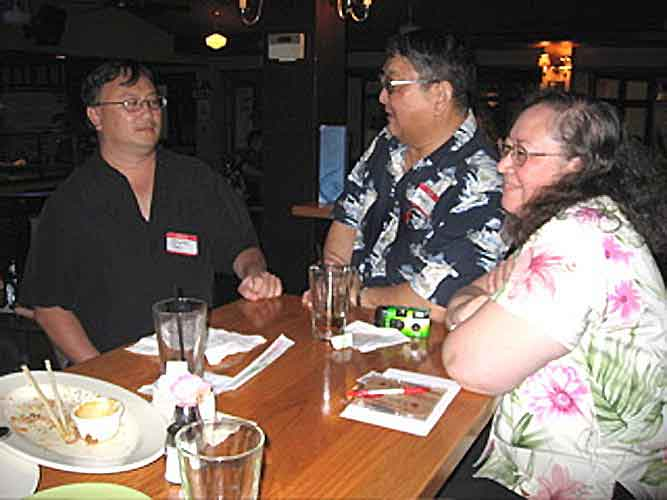 """Photo: Cat: """"Tsai talking with blog party newcomers SteveM and Peaches"""". Photo from Cat's Blog 2/21/07."""