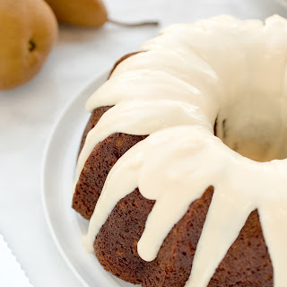 Pear Cardamom Cake with Maple Cream Cheese Glaze