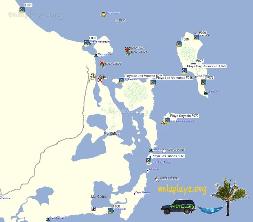 Mapa de Playas del sactor Cayo Sombrero