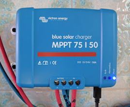 Photo: Victron Blue Solar Charge Controller MPPT 75/50 (replaced the Ellies Solar Charge Controller). My previous charge controller was only 30 Amps output and had no intelligent monitoring or data upload to the Victron cloud. This one will handle 50 Amps with ultra-fast maximum power point tracking (MPPT) for cloudy skies.