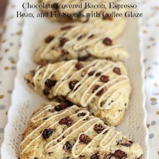 Chocolate Covered Bacon, Espresso Bean, and Fig Scones with Coffee Glaze