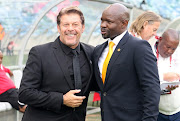 Luc Eymael with Steve Komphela during the Absa Premiership match between Kaizer Chiefs and Free State Stars at Moses Mabhida Stadium on November 25, 2017 in Durban, South Africa.