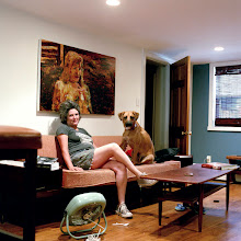 Photo: title: Angela Dufresne with Larry the dog, Brooklyn, New York date: 2010 relationship: friends, art, met through Brett Chenoweth years known: 15-20