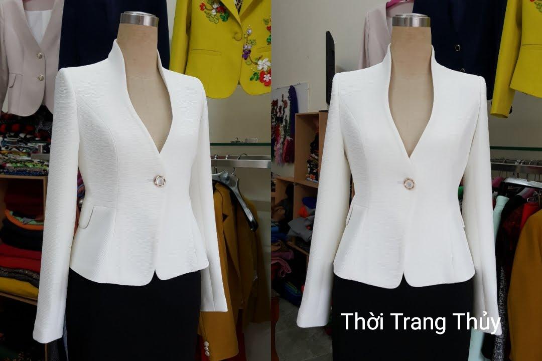 Áo vest nữ công sở cổ dự chữ V cong màu trắng V502 tại Hải Phòng