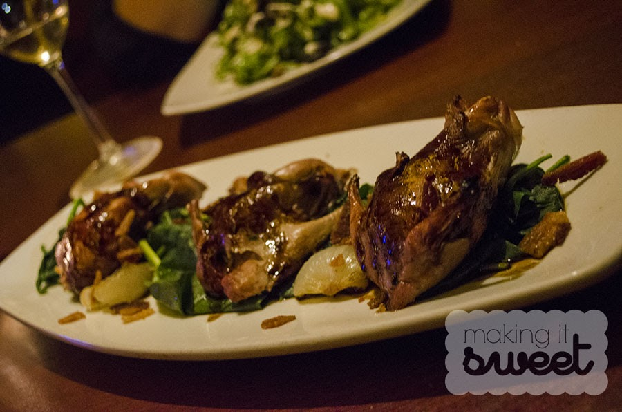 Roasted Quail stuffed with Mushroom Risotto