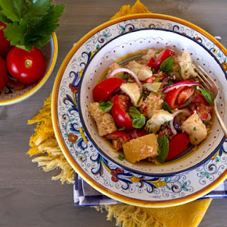 Panzanella With Artichokes, Black Olives, and Capers