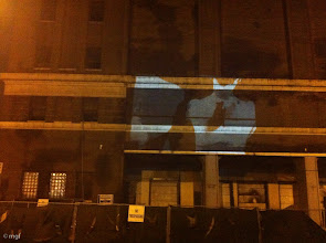 """Photo: Projection of """"Dancer's Body,"""" 2012, digital transfer of 16mm b/w film, 2 min. trt. (loop) at Fulton Market Cold Storage Co. Building, Chicago, IL 11/22/12 (from La Sirena Restaurant). mgf"""