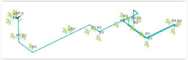 ANSYS Пример расчёта системы трубопроводов для демонстрации применения метода неучтённой массы (общая масса = 8,25)