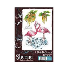 Sheena Douglass A Little Bit Sketchy A6 Stamp Set - Flamingos UTGÅENDE