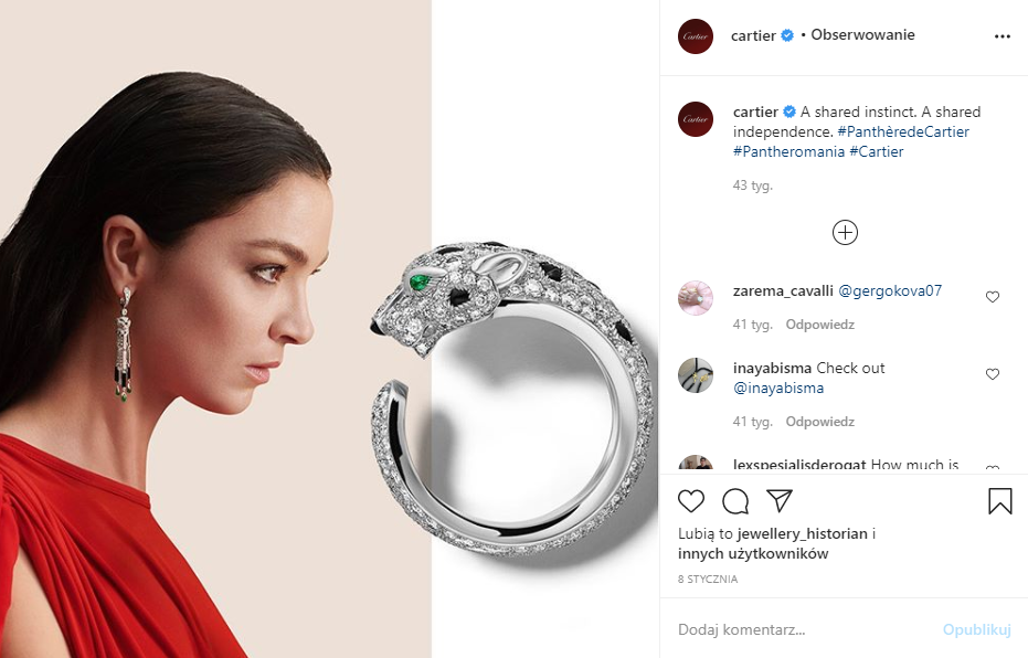 Pierścionek szmaragd - profil IG Cartier (screen)