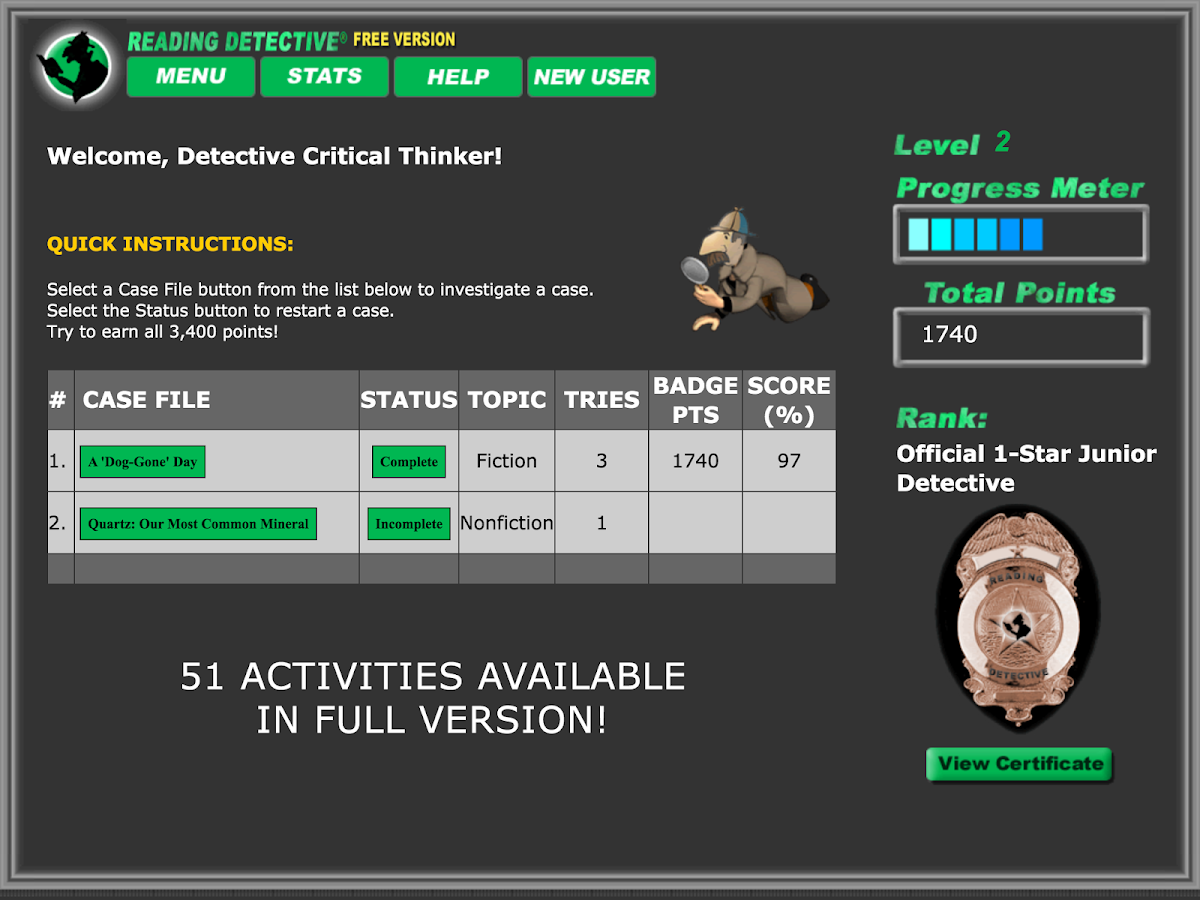 critical thinking reading detective a1 The standards-based critical thinking activities of reading detective® develop  the analysis, synthesis, and vocabulary skills students need for.