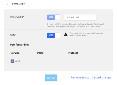 Configure a DMZ in Google Fiber account