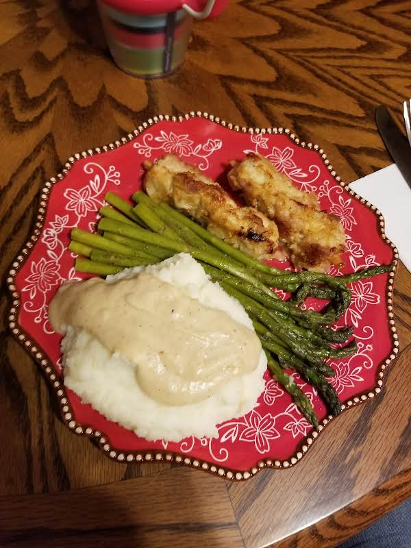 City Chicken (pork) With Asparagus, Mashed Potatoes And Gravy.
