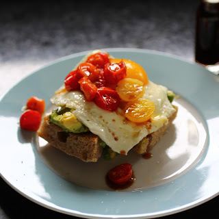 Avocado Toast With Broiled Tomatoes And Date Vinegar.
