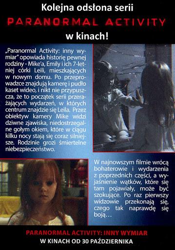 Tył ulotki filmu 'Paranormal Activity: Inny Wymiar'