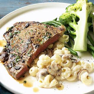 Steak with Mushroom Macaroni and Cheese.