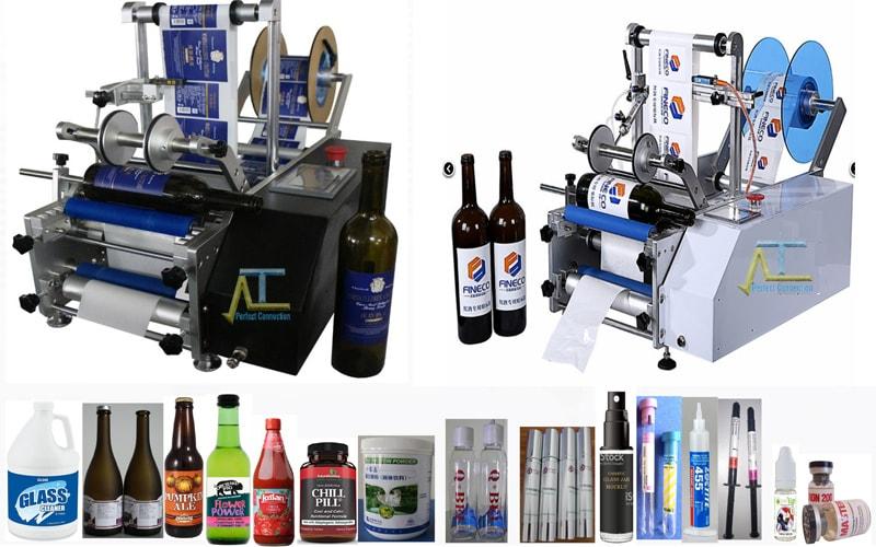 Máy dán nhãn chai tròn đa năng dán nhãn 2 mặt các sản phẩm chia tròn