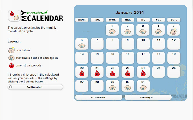 My menstrual calendar.