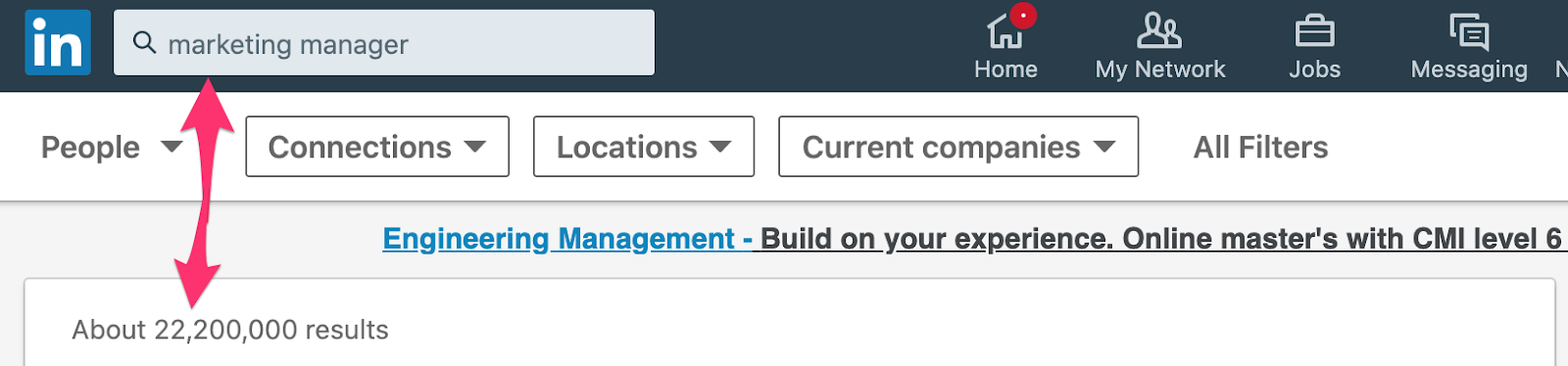 LinkedIn search features.