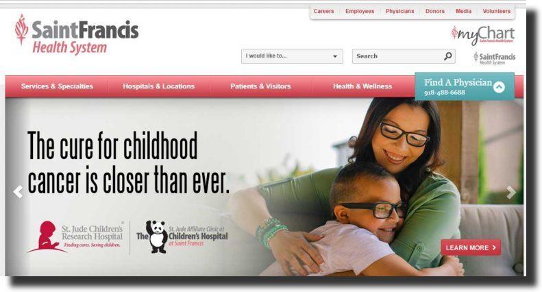 Saint Francis medical website design