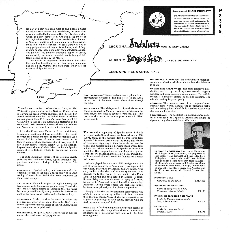 Ernesto Lecuona, Isaac Albéniz, Leonard Pennario