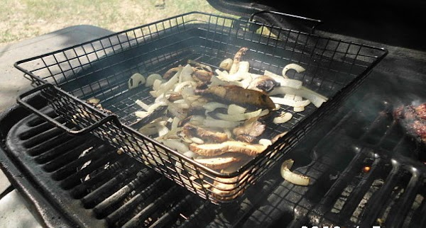 Grill mushrooms and onions, cook burgers, enjoy a delicious meal.