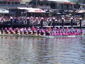Photo: Dragons Abreast ACT at the annual Dragons Abreast Australia Regatta in Darling Harbour, Sydney, 5 February 2012